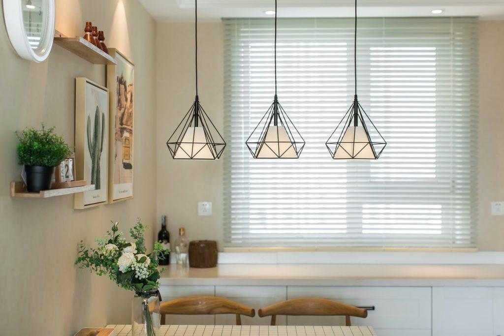 white kitchen blinds
