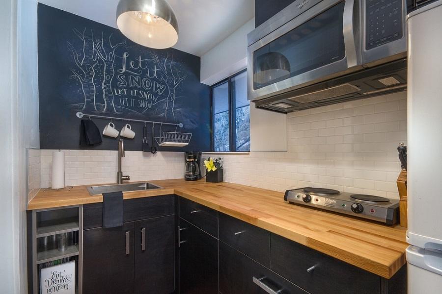 kitchen chalk accent wall