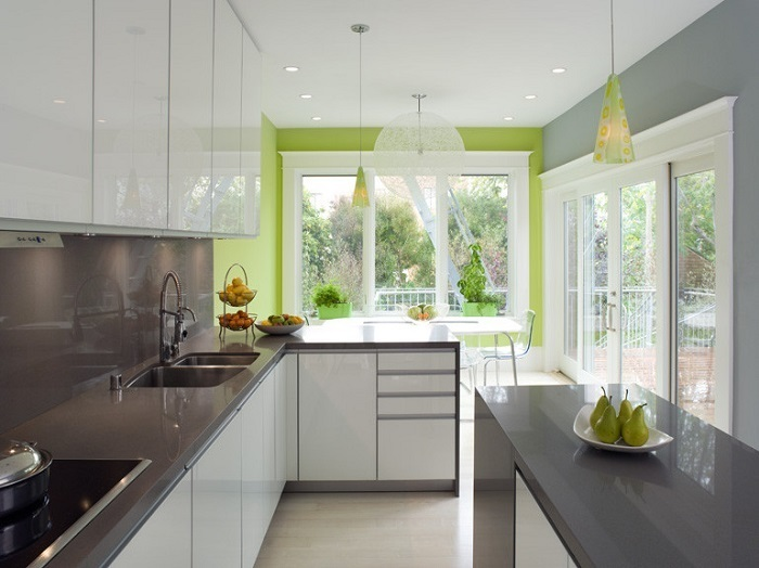 kitchen accent wall color vibrant green