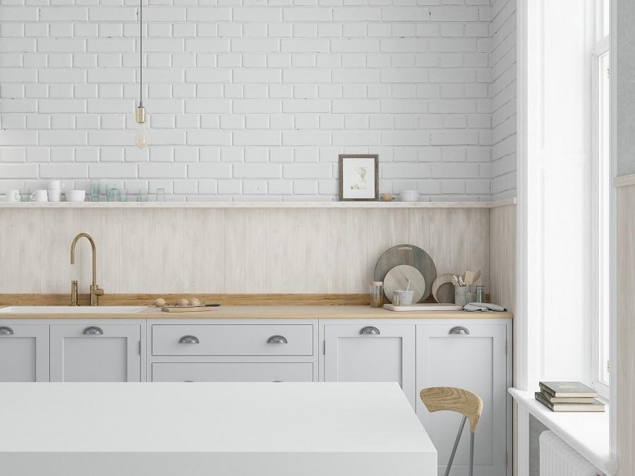 kitchen brick accent wall