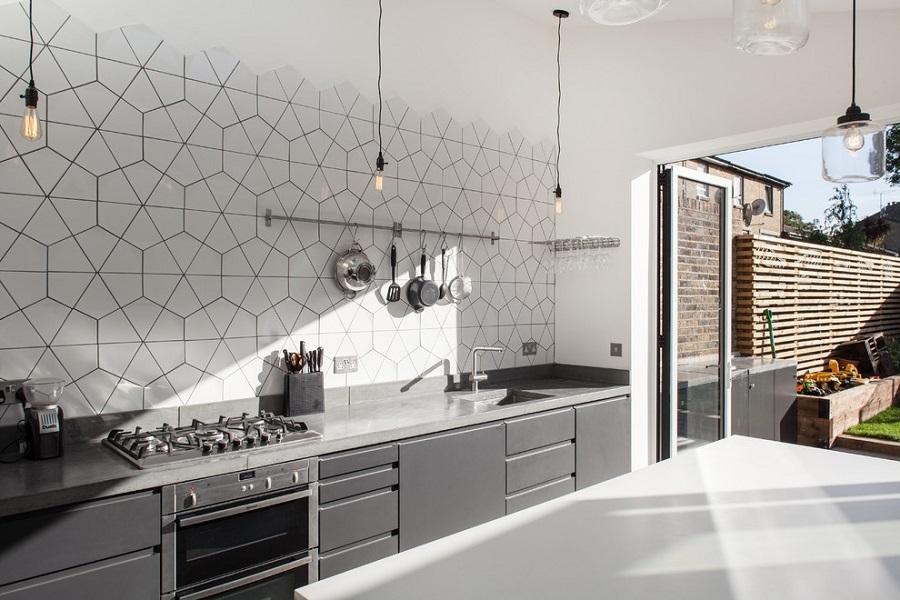kitchen geometric accent wall