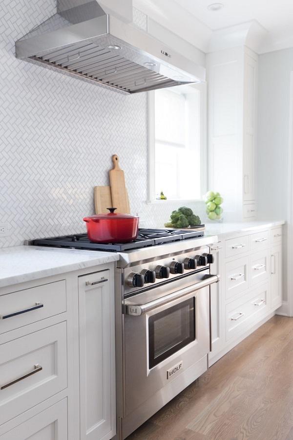 kitchen herringbone wall