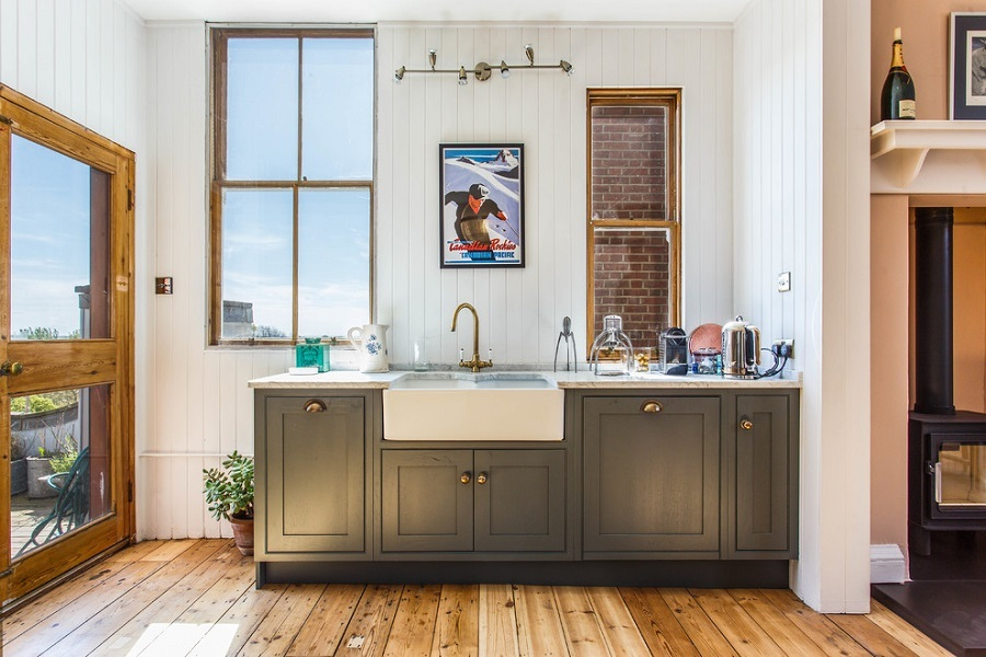 kitchen shiplap wall