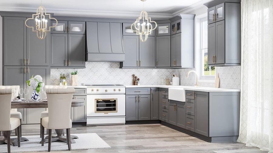 grey cabinet light wood floor