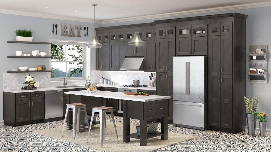 grey cabinets pattern floor