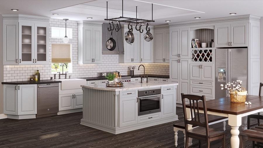 white cabinets oak floor