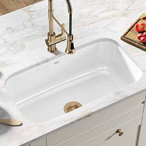 Kraus KEU-14WHITE Pintura Undermount Single Bowl Enameled Stainless Steel Kitchen Sink