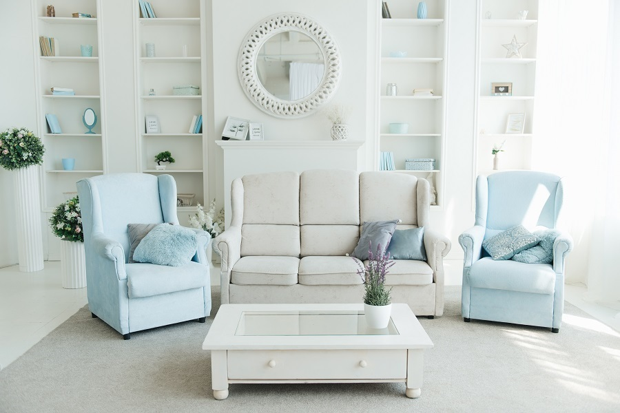 living room sofa and chairs