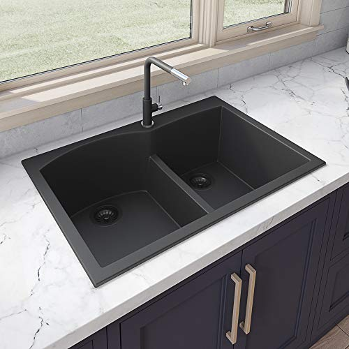 Ruvati epiGranite Drop-in Granite Composite Double Bowl Kitchen Sink