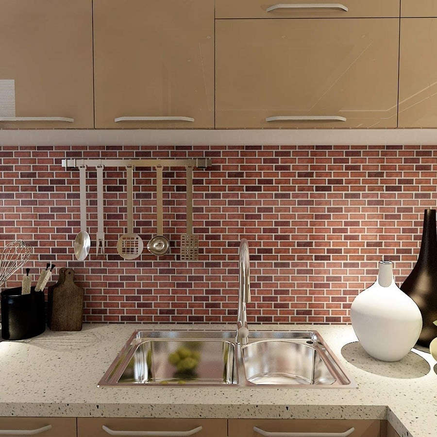 brick tile backsplash
