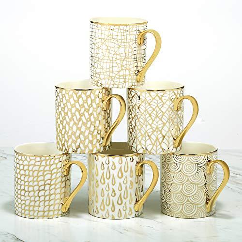Certified International Mosaic 14 oz. Gold Plated Mugs