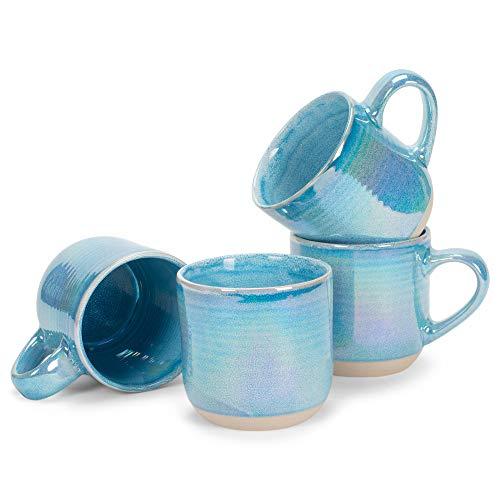 Blue Glossy Rainbow Glaze 17 ounce Stoneware Mugs