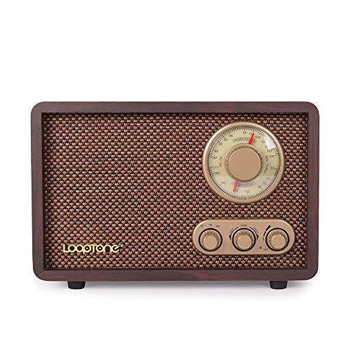 LoopTone FM AM Radio Retro Wood Radio with Bluetooth