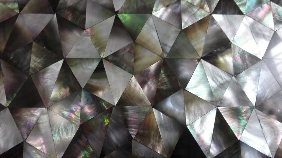 triangular tile backsplash