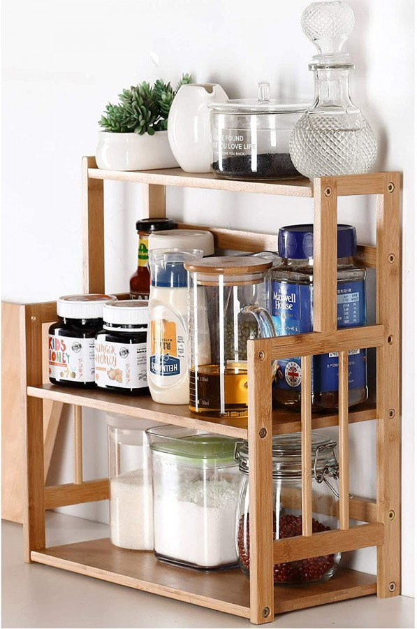 Bamboo Spice Rack Storage Shelves-3 Tier Standing