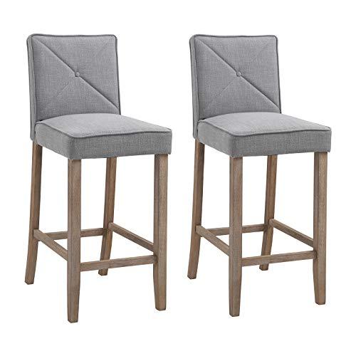 Homcom 2-piece Modern Barstools Upholstered