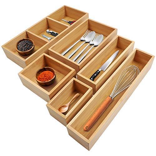 Kootek 6-piece Bamboo Kitchen Drawer Organizer, 8