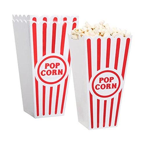 Plastic Red & White Striped Popcorn Container
