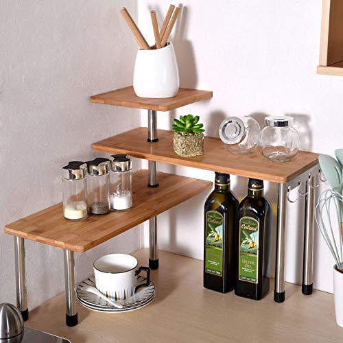 Ollieroo 3 Tier Corner Shelf Bamboo Countertop
