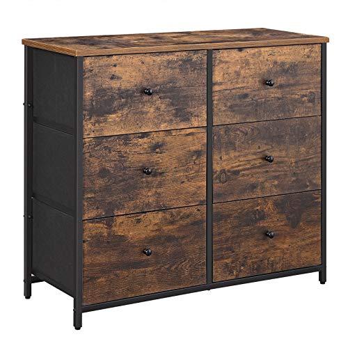 Songmics Rustic Drawer Dresser, Wide Storage