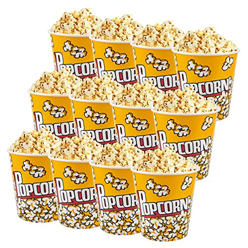 Tebery 12 Pack Plastic Popcorn Containers Reusable