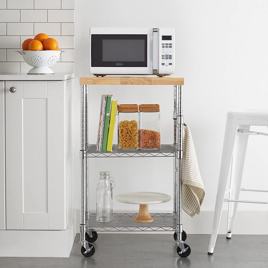 Amazon Basics Kitchen Rolling Microwave Cart On
