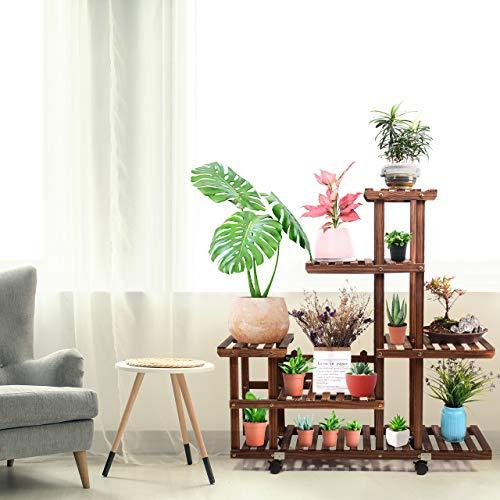 Woodplantstandindooroutdoor,woodenplantdisplaymultitierflowershelvesstands,gardenplantshelfrackholderorganizerincornerlivingroombalconypatioyard(11-13flowerpots)