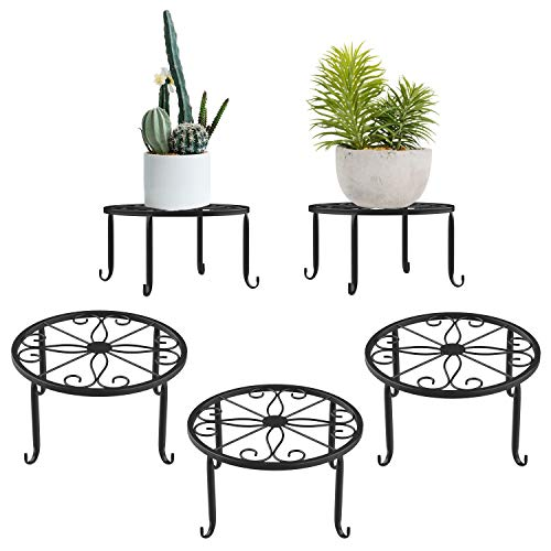Lewondr Potted Plant Stand, 3 Pack Durable Metal