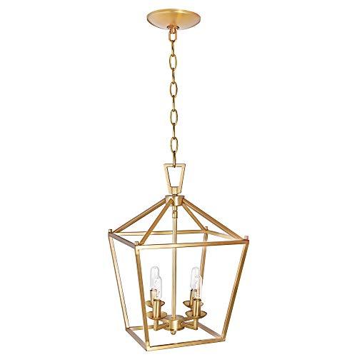 Motini 4-light Gold Lantern Pendant Light In