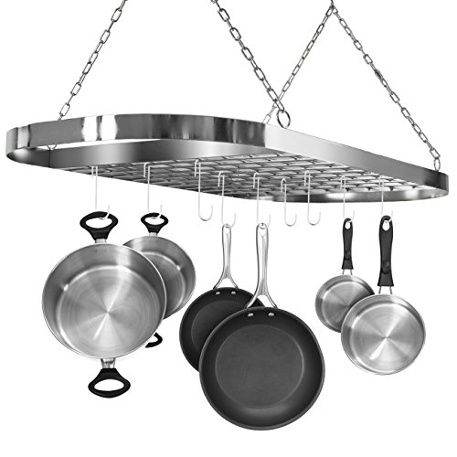Sorbus Pot And Pan Rack For Ceiling With Hooks —