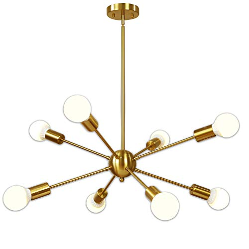 Sputnik Chandelier 8 Light Brushed Brass Pendant