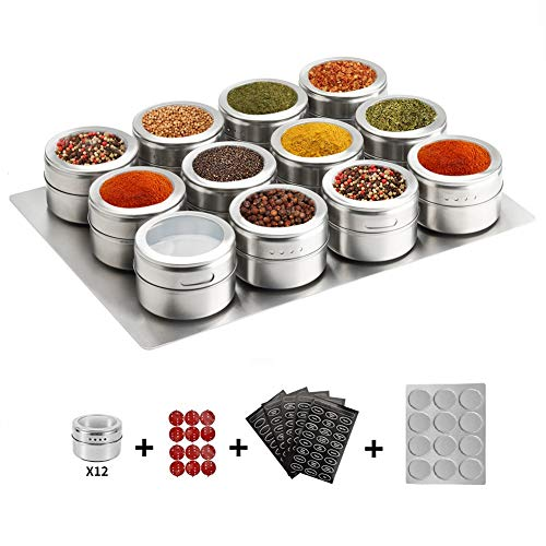 12 Magnetic Spice Tins,stainless Steel Spice Jar