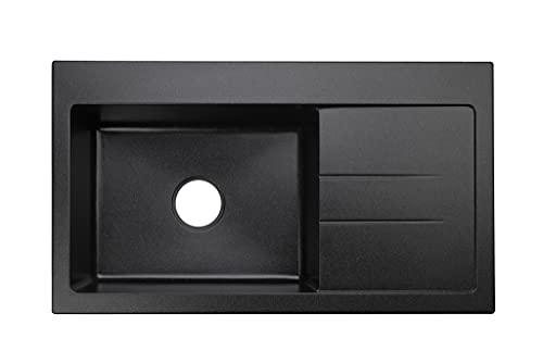 """Black Kitchen Sink Lavello Luxor 100xl 34"""" Granite"""
