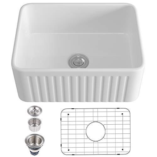 Eridanus 24 Inch White Ceramic Kitchen Sink,