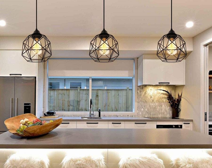 geometric pendant lights kitchen island