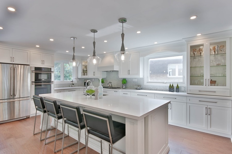 kitchen metallic light fixtures