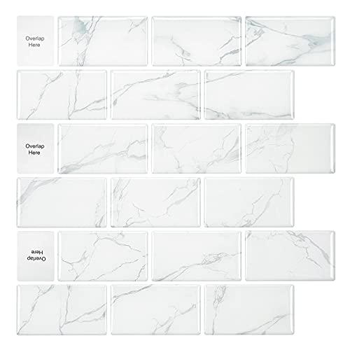 12-sheet Peel And Stick Tile, Carrara White Marble