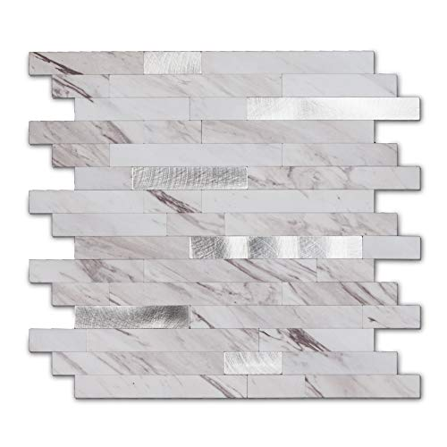 Peel And Stick Stone Metal Tile Backsplash, Stick